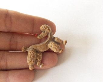 brown poodle pin enamel poodle brooch vintage poodle pin animal brooch