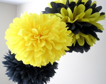 SALE / BUMBLE BEE / 3 tissue paper poms / bumble bee birthday / bee and puppycat / taxi cab party decorations / yellow and black decoration