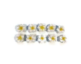 12 mm Polymer Clay Plumeria Flowers Set of 10 (MP1)