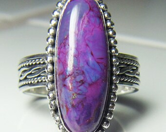 Handmade Sterling Silver Long Purple Mohave Turquoise Ring size 6 to 11 Gift Box included Choose your band style
