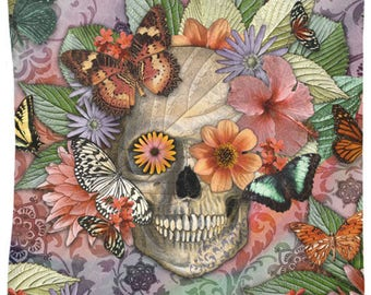 Butterflies and Flowers Sugar Skull Tapestry - Butterfly Botaniskull - Day of the Dead Artwork on Lightweight Polyester Fabric