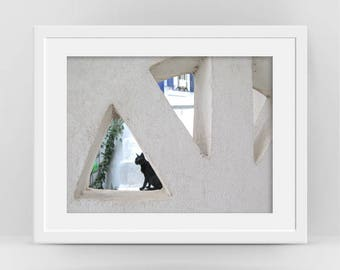 Black Cat Photo, Greek Architectural Detail, Cycladic Art, Muted Color, Animal Fine Art Photography, Minimalist Poster, Travel Photography