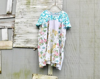 Plus Size Dress, Spring Dress, Tshirt Dress, Spring Dress, Upcycled Clothing, Floral, Loose Fit, Summer Dress, Tunic, Upcycled, CreoleSha