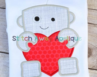 Robot Heart Valentine's Day Machine Applique Design