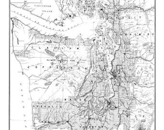 Puget Sound Map Vintage Print Poster