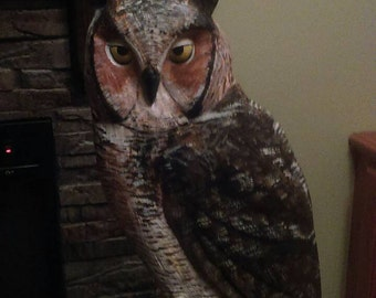 Great Horned Owl carving 33""