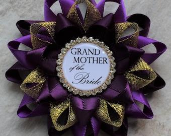 Purple Bridal Shower Decorations, Bridal Shower Pins, Mother of the Bride, Grandmother, Bachelorette Party Pins, Deep Purple, Purple, Gold