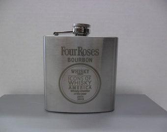 NEW Four Roses Kentucky Straight Bourbon Whisky Stainless Steel 6 oz Flask