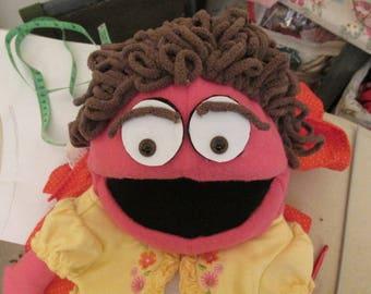 Muppet style 12 inch Puppet- Fleece Puppet, Salmon Pink - Handmade sewn puppets - Clowning Puppets -Christmas Gifts girls n boys