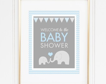 Elephant Welcome Sign, Baby Shower Welcome Sign, Boy Baby Shower, Elephant Party Decor, Blue and Gray Elephant Shower, INSTANT DOWNLOAD, #E1