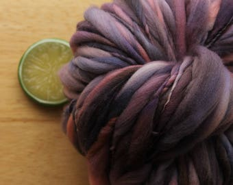 Polished - Handspun Hand Dyed Merino Wool Yarn Pink Purple Brown Thick and Thin Skein