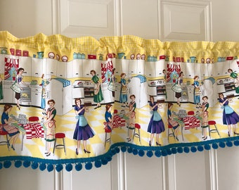 Retro kitchen scene vintage Curtain Valance with gingham and aqua pom pom border