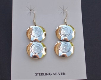 Native American Navajo Sterling Hand Stamped Double Concho Pillow Earrings - Ina Nez