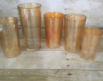 Set of 4 peach lustre/marigold lusre drinking glasses