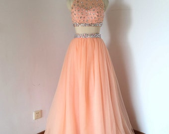 Beaded Two Piece Baby Pink Tulle Long Prom Dress 2017