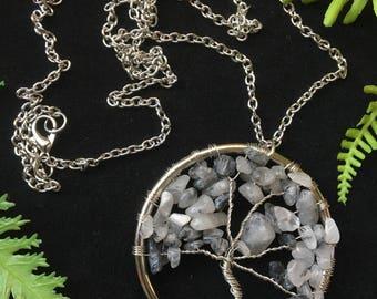 Tourmilated Quartz Tree of Life Necklace