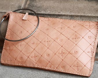 High quality leather Clutch, embossed, with Metal ring