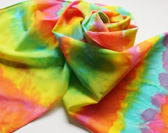 Hand Painted Silk Scarf - Handpainted Scarves Bright Rainbow Yellow Lemon Lime Green Turquoise Blue Aqua Pink Orange White Tie Dye