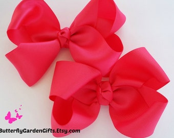 Shocking Pink satin or grosgrain twisted boutique hair bow clip