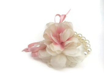 Wrist Corsage, Silky Flower Corsage Pink and ivory, Bridesmaid and Flovergirl  Corsage, Wedding corsage