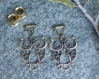 Bronze Owl Magnetic Clasp Gauged Earrings