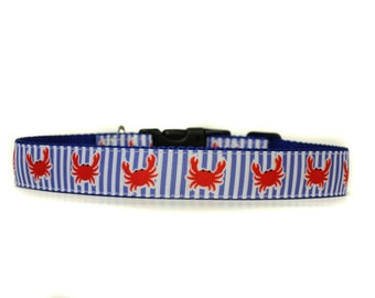 1 Inch Wide Dog Collar with Adjustable Buckle or Martingale in A Little Crabby