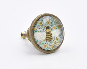 Vintage Bee Print Knob, Pull, Handle, For Cupboards, Doors, Cabinets,
