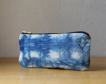 Natural Indigo Zipper Pouch // Shibori no. 2