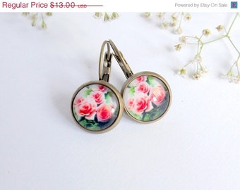 Pink Rose Earrings Flower Earrings Cabochon Green Leaf Earrings Vintage Rose Earrings Dangle Earrings Cottage Chic