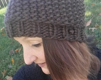 Brown Knit Hat with Brim