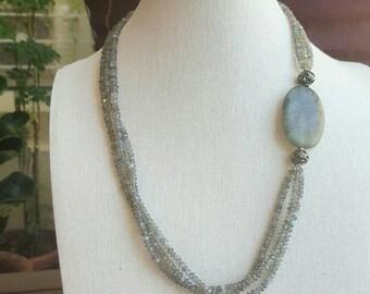 Storm necklace - blue flash labradorite & oxidized fine/sterling silver