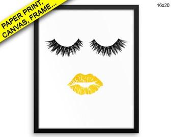 Eyelashes Canvas Art Lips Printed Eyelashes Beauty Art Lips Beauty Print Eyelashes Framed Art Lips gold lips large print lashes lipstic