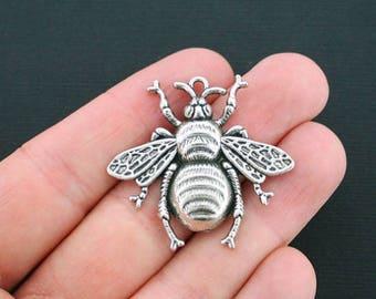 2 pcs, Big bee charms, Metal charms, Antique silver charms, Animal charms, Cheap bee charms, Metal bee charms, Metal bug charms, 42x40, A61