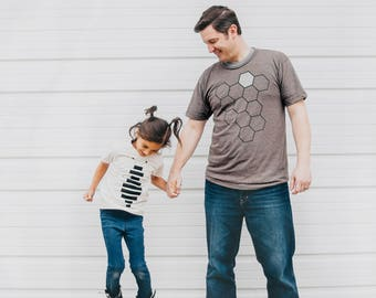 Dad and Baby Matching Shirts, Father's Day Gift Men, Animal Lover New Dad Kids Gift, Father Son Daughter Shirts, Hive Honey Bee T Shirt Set