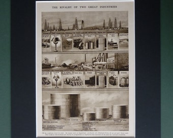 1930s Vintage Print Of The Oil & Coal Industries - Industrial Decor - Sepia Art - Sepia Decor - Industry Art - Available Framed - Matted Art