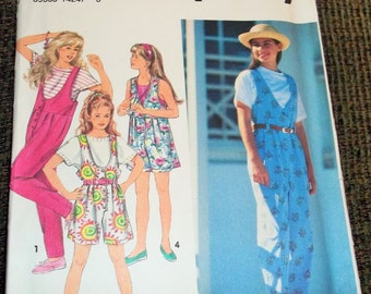 CLEARANCE! Vintage 1993 Simplicity 8504 Sewing Pattern Girl's Jumpsuit in Two Lengths Size AA 7 - 10