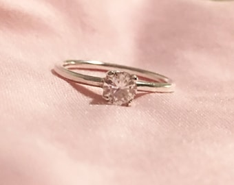 5mm Round Moissanite Solitaire Ring in Sterling Silver Prong Setting