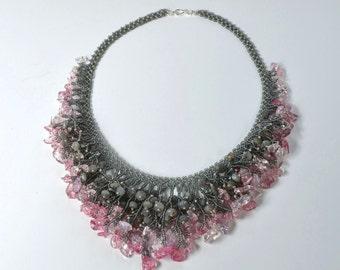 Ice flake quartz and labradorite bib necklace