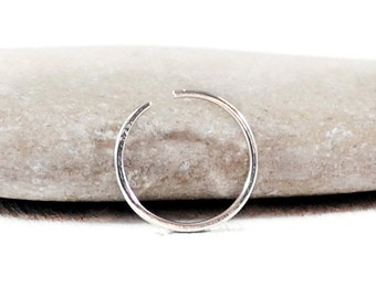 Sterling Silver Nose Ring Hoop. Thin Nose Rings. Silver Nose Piercing. 18g 20g 22g Nose Ring.20 Gauge Nose Ring. 5, 6, 7mm Endless Nose Ring