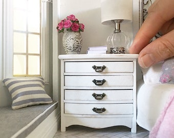 Miniature chest of drawers - white - bow front gustavian french style