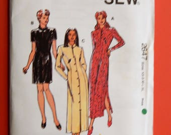 Kwik Sew 2647 Asian inspired dress pattern with princess seams Uncut Sizes extra small, small, medium, large and extra large