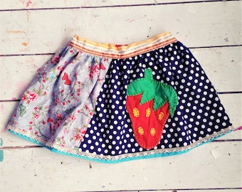 Strawberry Skirt, Girls Skirt, Colorful Girls Skirt, Colorful Skirt, Girls Strawberry Skirt, Girls Skirt size 4, Skirt size 3, Cool Skirt
