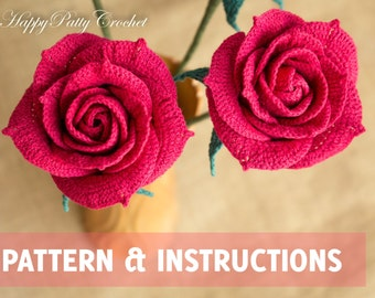 Crochet Rose Pattern   Crochet Flower Pattern   Crochet Rose For Bouquet  And Decoration   Crochet