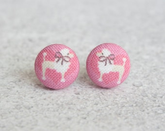 Pink Poodle Fabric Button Earrings