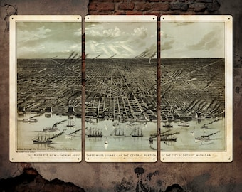 """Vintage Map of Detroit on METAL Triptych 36x24"""" FREE SHIPPING"""