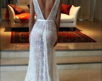 Lace Bridal Nightgown French Lace Wedding Lingerie Bridal Sleepwear Backless Wedding Sleepwear Bridal Lingerie Ivory Lace Nightgown