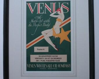 "Vintage Art Deco Oil label original ""Venus"", unused, new old stock"