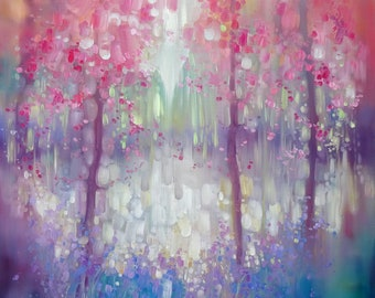 Print on Canvas - Spring Shimmers Into Life- a bluebell and wildflower woodland clearing