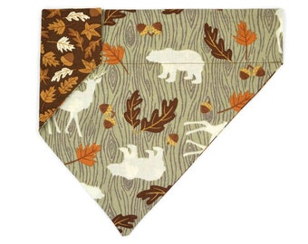 Fall Dog Bandana – Bears & Deer-Woodland Animals-Fall Leaves-Acorns-Bark–Reversible–Slides on Collar