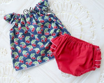 Baby Girl Cherry Outfit, Flutter Top and Diaper Cover, Baby Girls Clothes, Cherry Outfit, Cherry